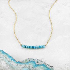 turquoise and gold bar necklace 2